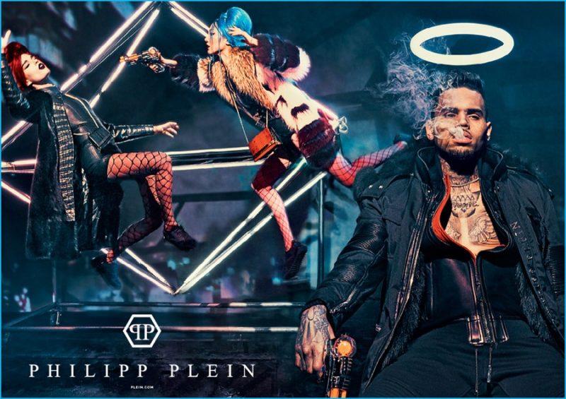 Chris Brown rocks a halo for Philipp Plein's fall-winter 2016 campaign.