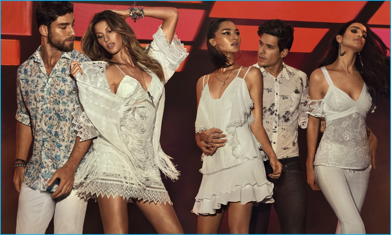 It's a white party as models Andre Ziehe, Gisele Bündchen, Bruna Tenorio, Diego Fragoso and Amanda Wellsh come together for Colcci's spring-summer 2017 campaign.