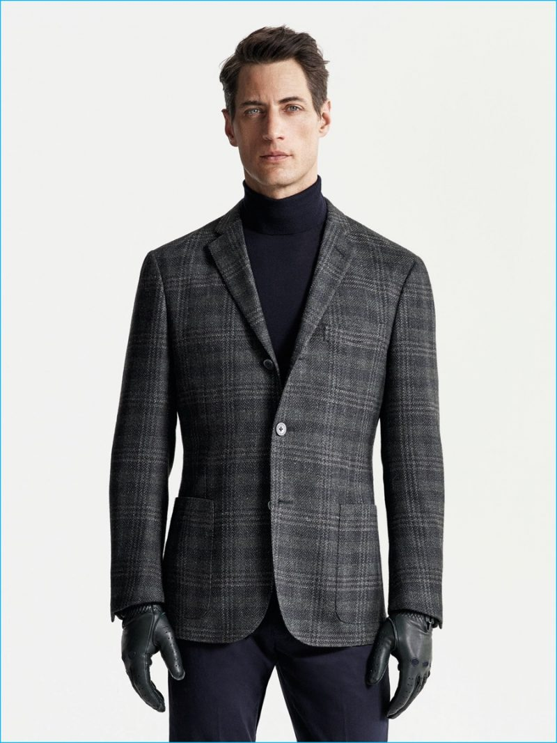 Axel Hermann is a sleek vision in a wool blazer and cashmere turtleneck from Corneliani's fall-winter 2016 collection.