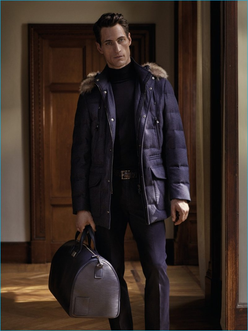 Axel Hermann pictured in a parka from Corneliani's fall-winter 2016 collection.