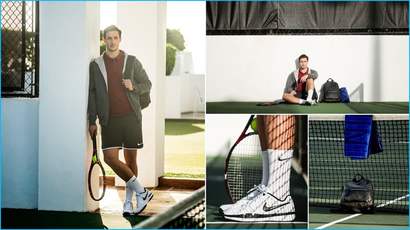 Doctor Mike prepares for a match point in a Berluti hoodie, Nike Tennis polo shirt, Nike Running mesh shorts, Nike socks and Nike Tennis sneakers.