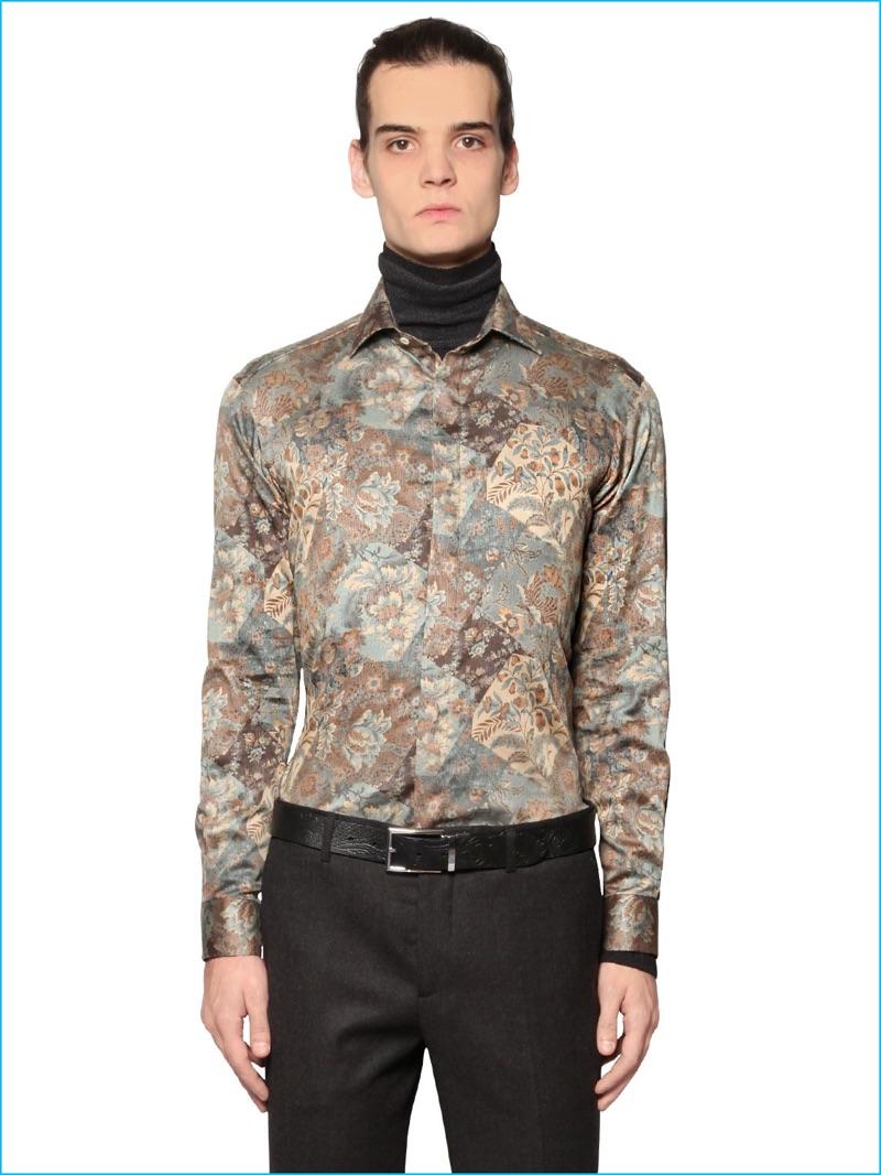 Etro Men Baroque Floral Print Shirt