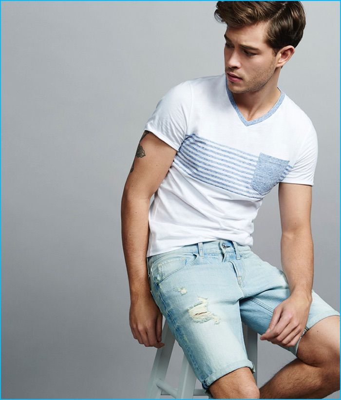 Francisco Lachowski wears Express Men's Denim Shorts