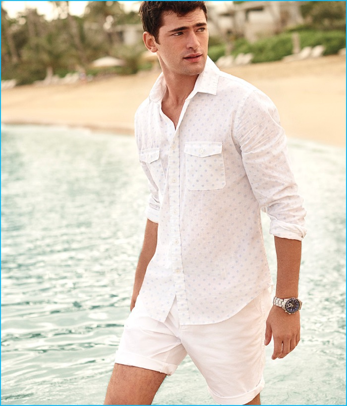 Sean O'Pry wears Express Men's Flat Front Shorts