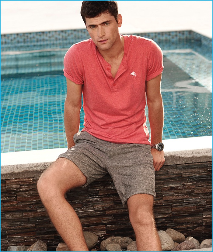 Sean O'Pry wears Express Men's Linen and Cotton Shorts