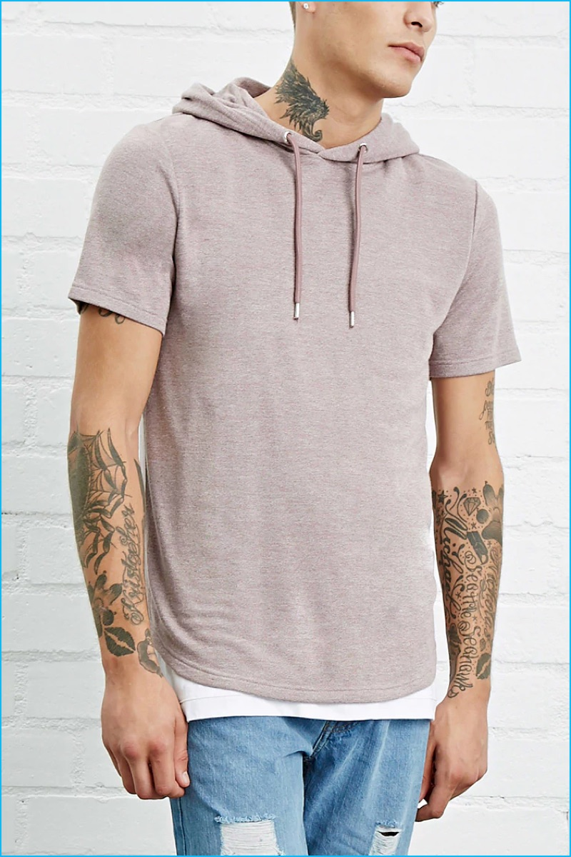 Forever 21 Men French Terry Knit Hoodie