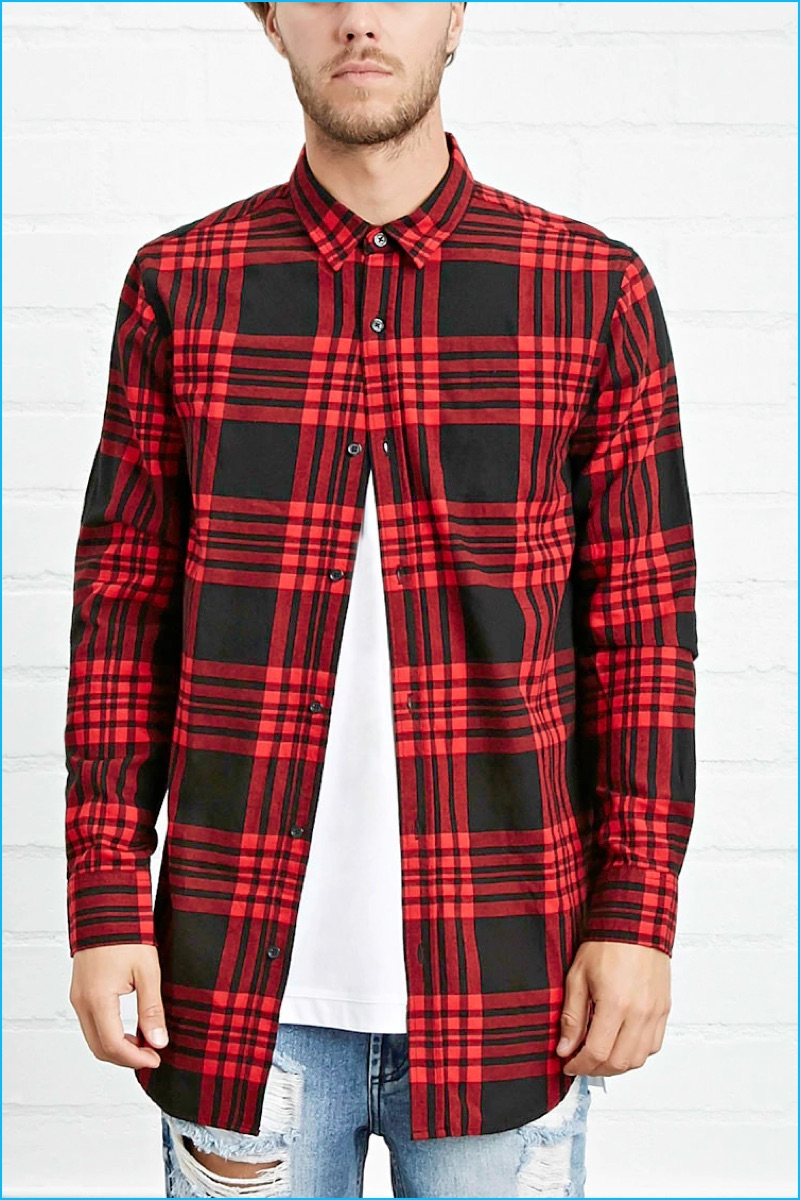 Forever 21 Men Side-Zip Plaid Flannel Shirt