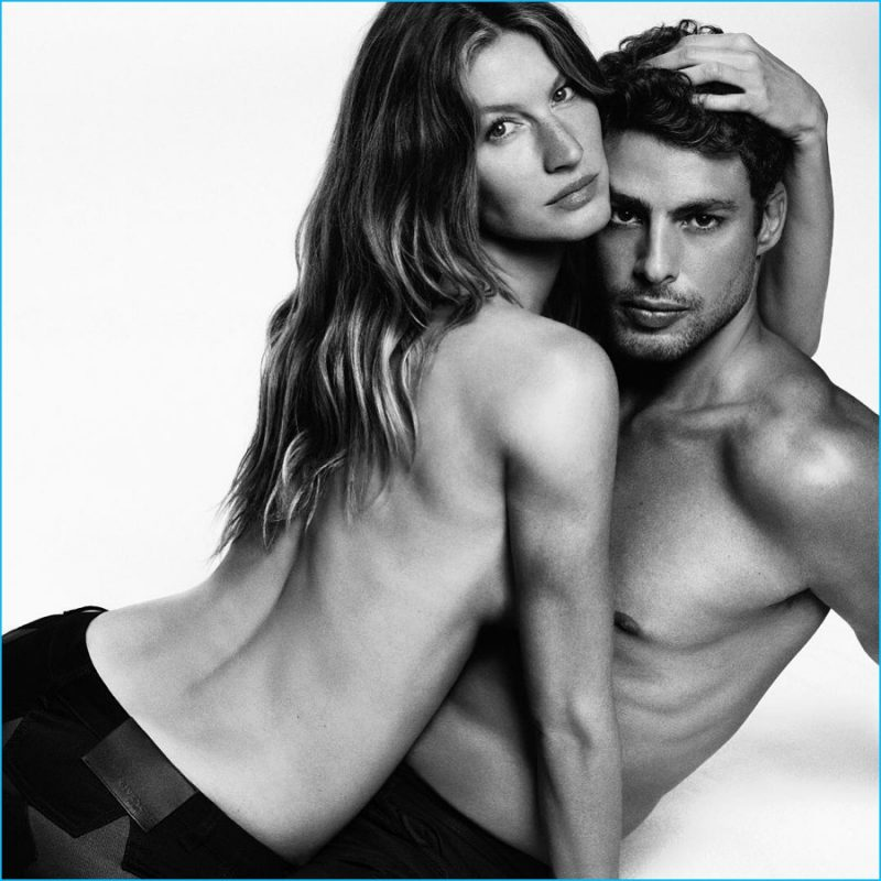 Gisele Bündchen goes topless, posing with Cauã Reymond for Givenchy Jeans' fall-winter 2016 campaign.