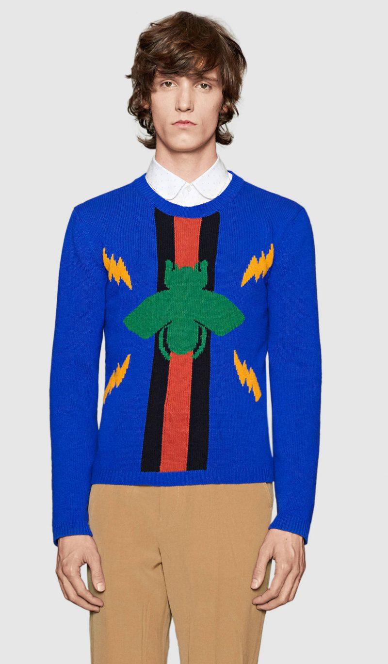 Gucci Bee Jacquard Wool Sweater