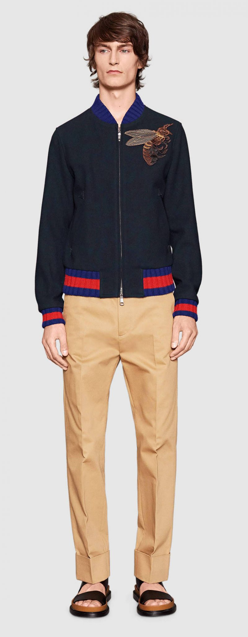 Gucci Wool Bomber Jacket with Bee Appliqué