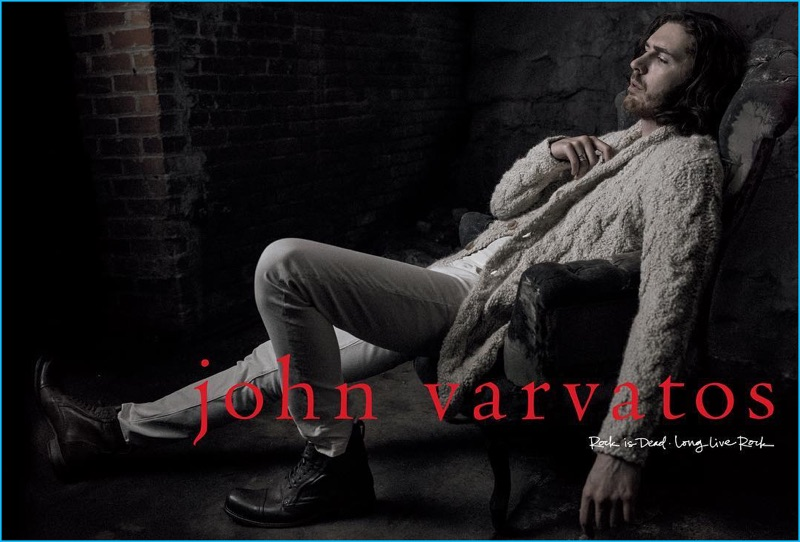 Hozier pictured in a deconstructed knit cardigan for John Varvatos' fall-winter 2016 campaign.
