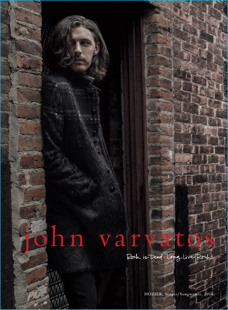 Hozier dons a plaid coat as he stars in John Varvatos' fall-winter 2016 campaign.