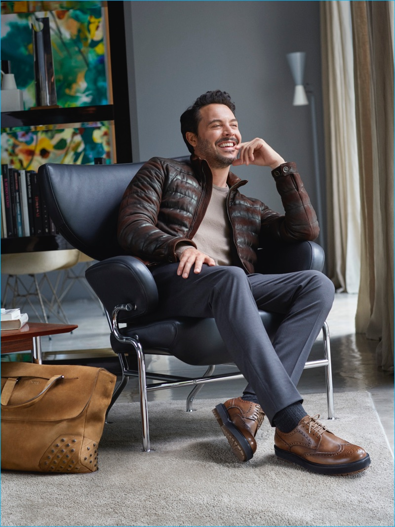Jack Huston is all smiles as the star of TOD'S fall-winter 2016 campaign.