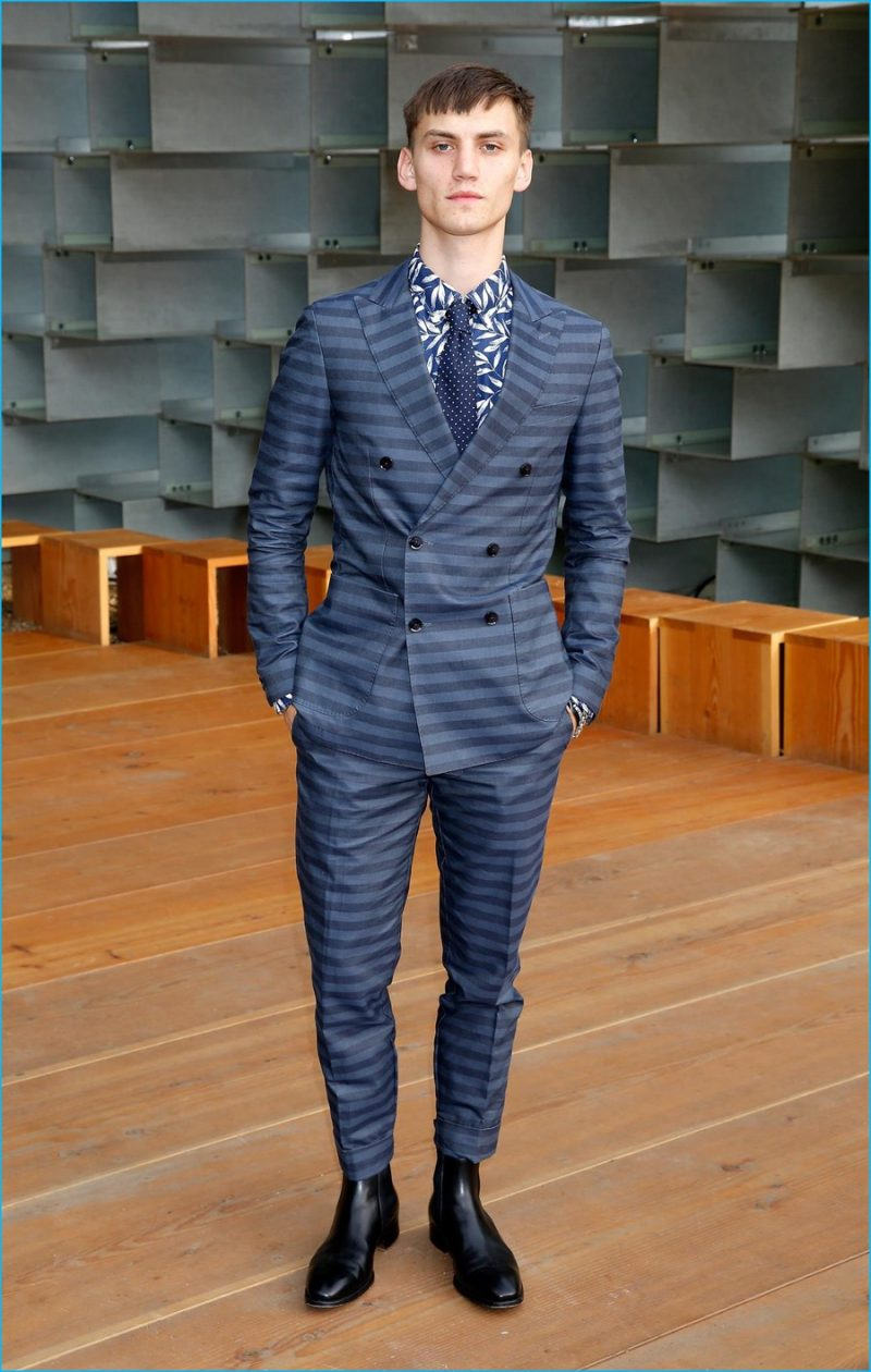 July 2016: Josh Mclellan cleans up in a striped suiting number from Tommy Hilfiger for the 2016 Serpentine Summer Party.