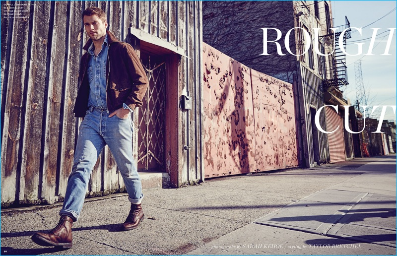 Kacey Carrig pictured in a Dunhill brown suede jacket with double denim fashions for Long Island Pulse.