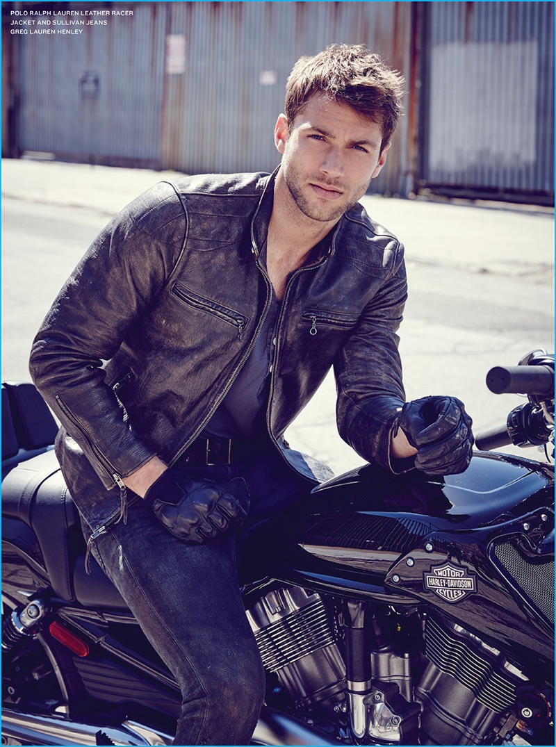 Kacey Carrig rocks a leather racer jacket from Polo Ralph Lauren.