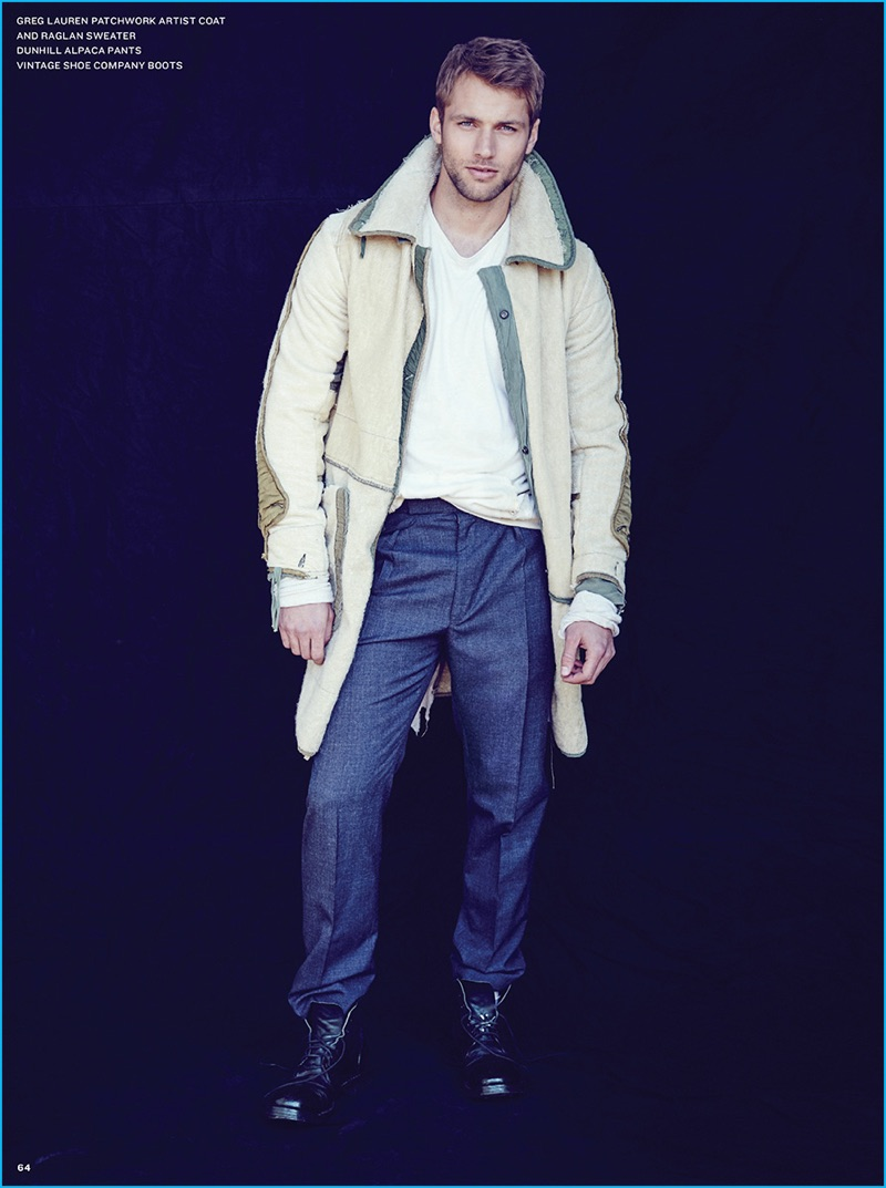 Kacey Carrig is front and center in a dynamic coat from Greg Lauren, paired with Dunhill pleated trousers.