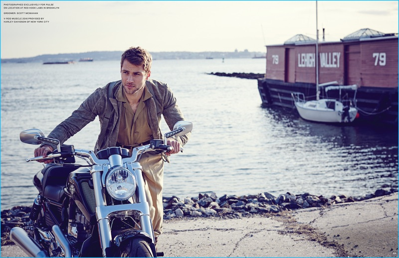 Kacey Carrig embraces rugged style as he poses with Harley-Davidson V-Rod Muscle 2016.