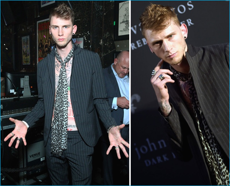 July 2016: Attending a John Varvatos afterparty during New York Fashion Week: Men, Machine Gun Kelly embodies modern rock style in a striped suit from the American designer.