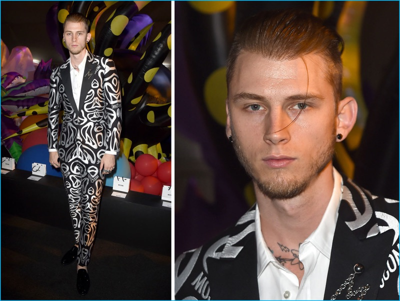 June 2016: Attending Moschino's spring-summer 2017 runway show, Machine Gun Kelly makes a case for peace in a graphic black and white suit from the Italian brand.