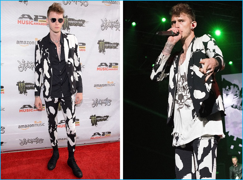 July 2016: Machine Gun Kelly attends the 2016 Alternative Press Awards, where he performed in a black and white suit from Marcelo Burlon County of Milan.