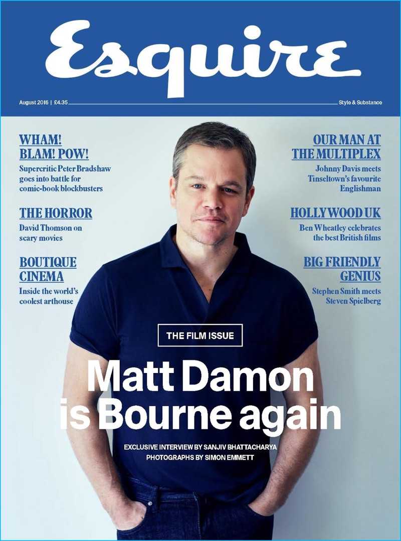 Matt Damon covers the August 2016 issue of Esquire UK.