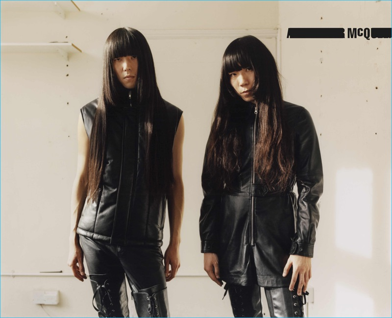 Taigen Kawabe and Yuki Tsujii of Bo Ningen for McQ's fall-winter 2016 campaign.