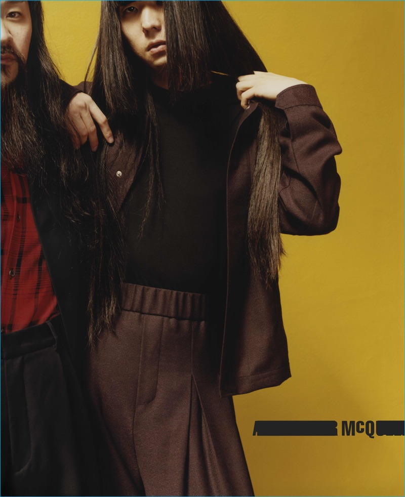 Monchan Monna and Yuki Tsujii of Bo Ningen for McQ's fall-winter 2016 campaign.