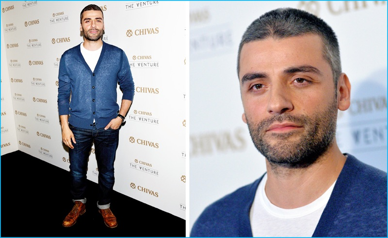 July 2016: Oscar Isaac steps out for Chivas' The Venture Final Event in a casual look from Rag & Bone.
