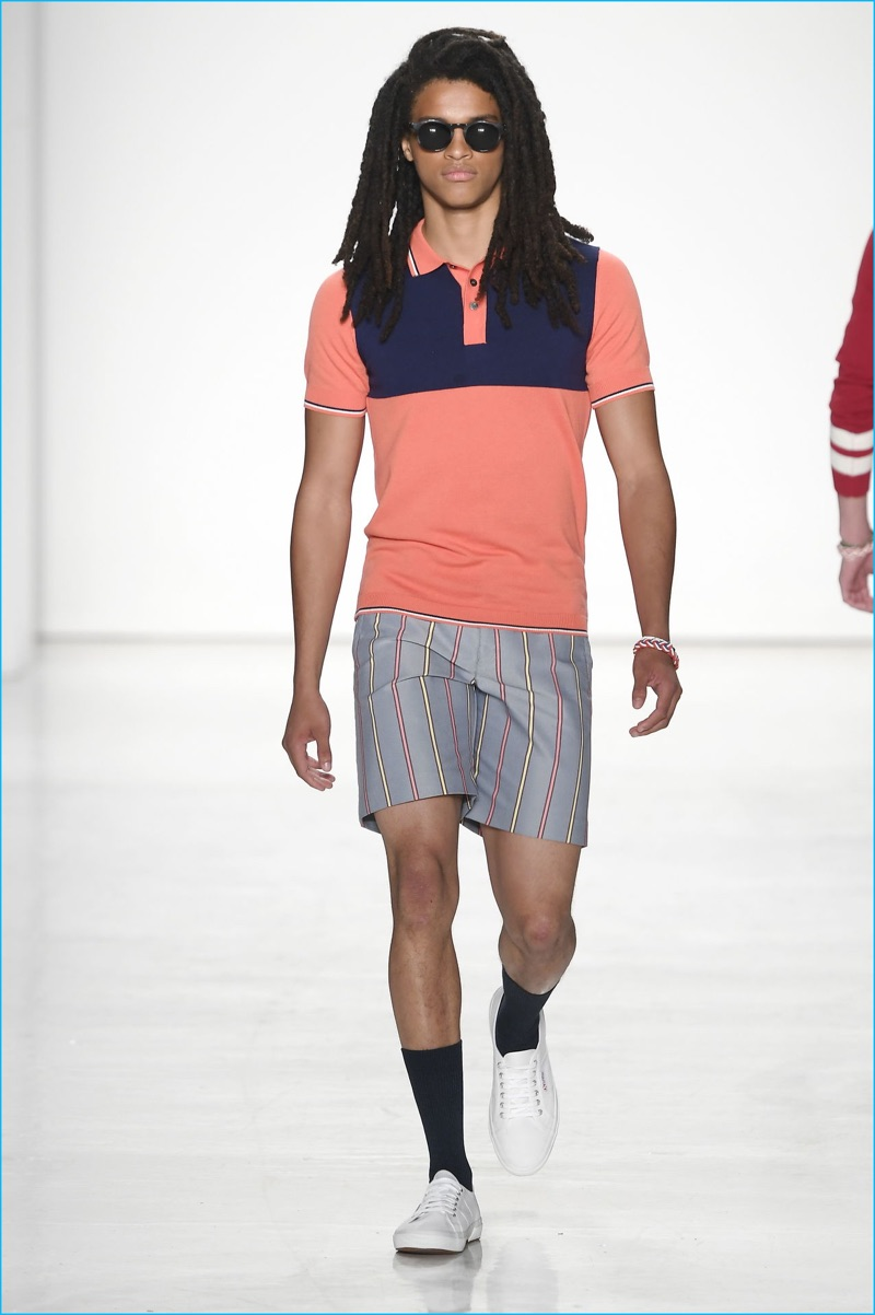 Parke & Ronen does colorblocked polo shirts for spring-summer 2017.