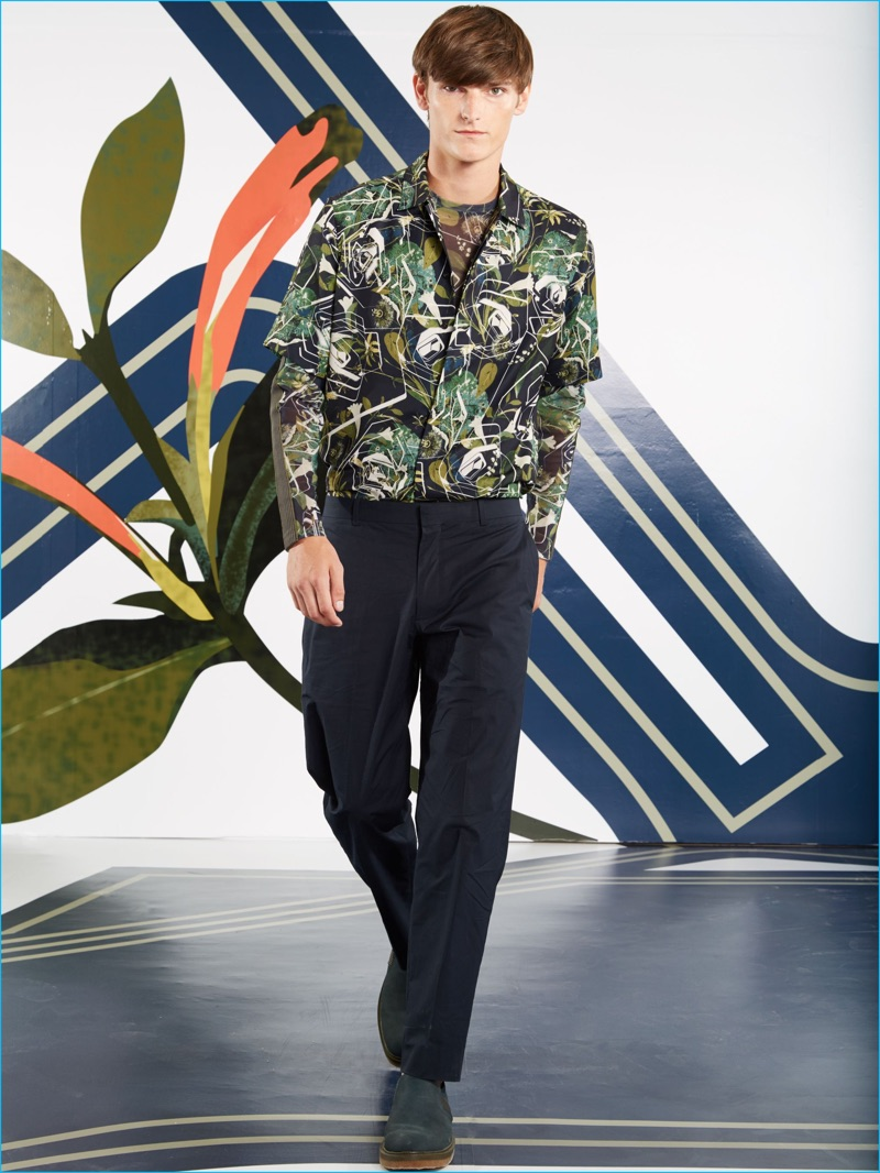 Perry Ellis layers with its bold botanical prints for spring-summer 2017.