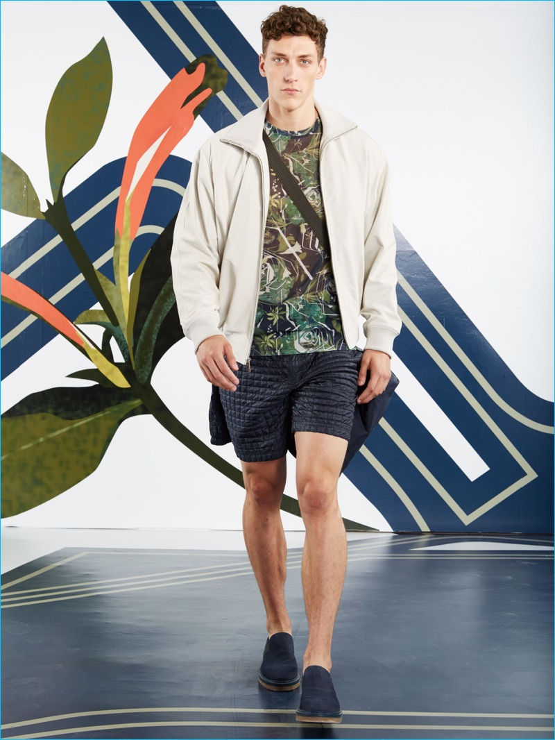 Perry Ellis introduces a hybrid of a bomber and track jacket for spring-summer 2017.