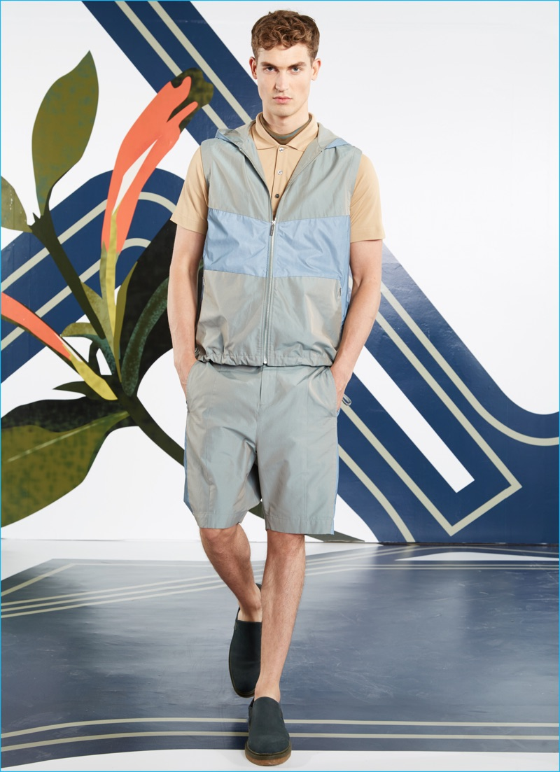 Timeless elements of activewear inspire new shapes for Perry Ellis' spring-summer 2017 collection.