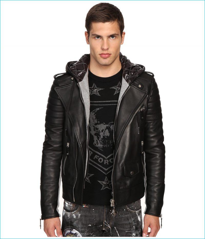 Philipp Plein Leather Hey You Jacket