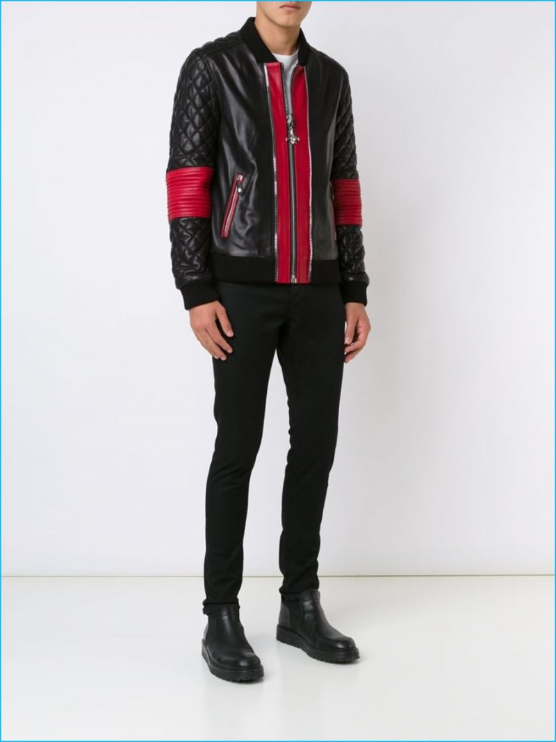 Philipp Plein Leather Quilted Sleeve Bomber Jacket