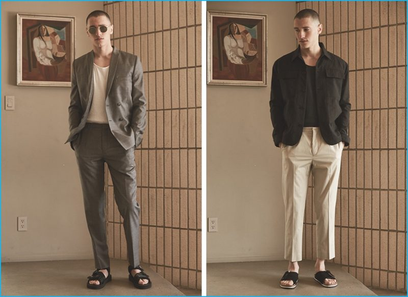 Left: Harmony double-breasted blazer and trousers, Our Legacy tank, Ahlem sunglasses and Suicoke sandals. Right: Helmut Lang patch pocket jacket, Harmony trousers, John Elliott t-shirt and Our Legacy slip-on sandals.