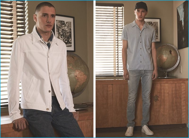 Left: Helmut Lang denim jacket, The Hill-Side Japanese selvedge denim jeans and hand-dyed Murakumo Shibor bandana and oversized tee and Golden Goose Superstar sneakers. Right: Nudie Jeans Cuban collared shirt and Thin Finn denim jeans, Common Projects Original Achilles low sneakers and Herschel Supply Co. cap.
