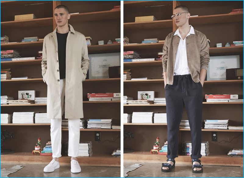 Left: Harmon coat, Helmut Lang oversized tee, John Elliott jeans and EYTYS sneakers. Right: Native Youth brushed bomber jacket, Harmony shirt, Outerknown pants and Robert Geller X Suicoke sandals.