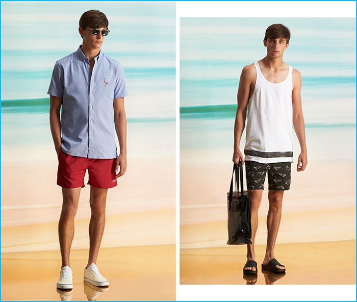 Barney Cools shirt, Saturdays NYC board shorts, Retrosuperfuture Riviera sunglasses and Vans Old Skool sneakers. Scotch & Soda tank, Barneys Cool swim shorts, EYTYS Void SM tote and Brandblack sandals.
