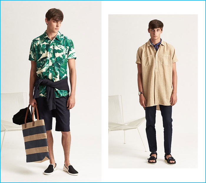 Left to Right: Deus Ex Machina print shirt, Harmony pleated shorts, Stussy basic crew, Apolis beach tote, Saturdays NYC towel and Rivieras slip-ons. Our Legacy popover shirt, Zanerobe chinos, Suicoke sandals and Daniel Wellington watch.