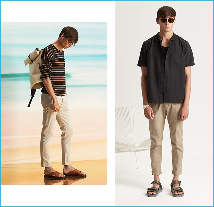 Left to Right: Publish stripe tee, I Love Ugly smart pants, EYTYS backpack and Dr Martens sandals. Stussy vacation shirt and tank, Zanerobe chinos, Robert Geller x Suicoke sandals, Ahlem Gare St Lazare sunglasses and Nixon watch.