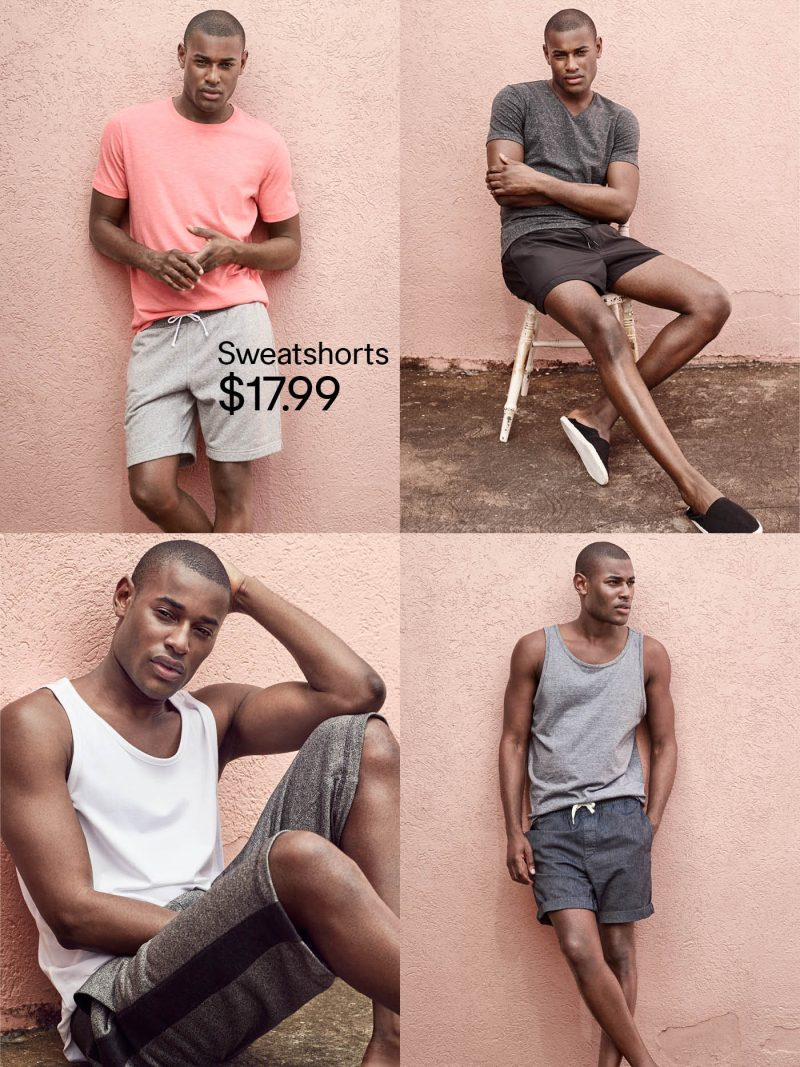 Rogér Dupé goes casual with H&M, showcasing summer sweatshorts.