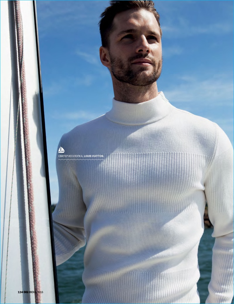 Tomas Skoloudik sports a chic sweater from Louis Vuitton.