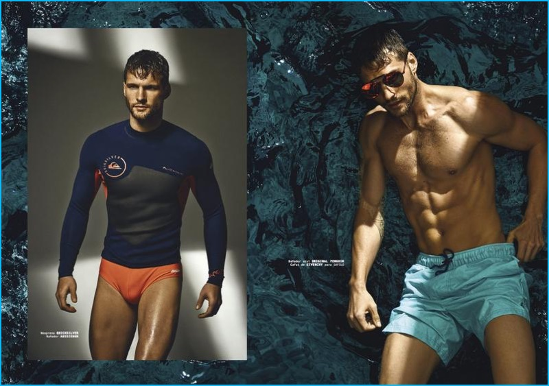 Tomas Skoloudik appears in a swim inspired editorial for Shangay Style.
