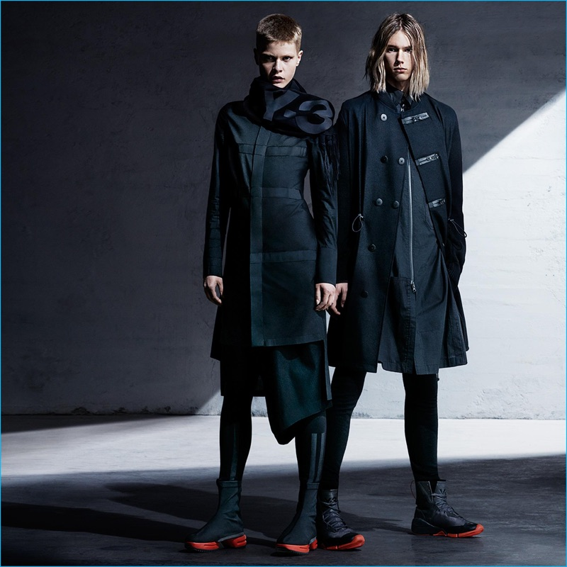 Models Anton Toftgard and Kris Gottschalk star in Y-3's fall-winter 2016 campaign.