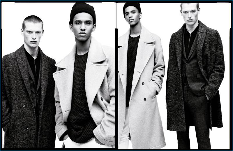 Models Julius Gerhardt and Jan Carlos Diaz don oversized coats for Zara Man's fall-winter 2016 campaign.