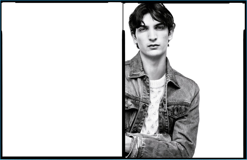 Model Luca Lemaire goes casual in a denim jacket for Zara Man's fall-winter 2016 campaign.