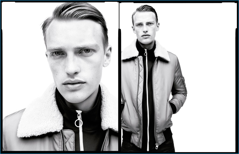 Victor Nylander is front and center in a bomber jacket for Zara Man's fall-winter 2016 campaign.