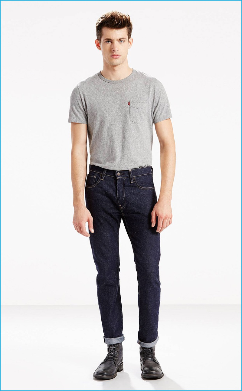 Jamie Wise rocks Levi's 505C slim fit Elvis jeans.