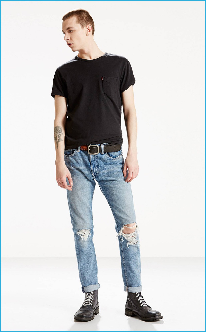 Yuri Pleskun pictured in Levi's 505C slim fit Joey jeans, which feature ripped knees.